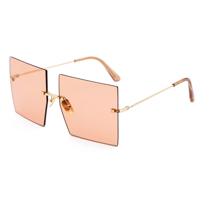 Oversized Rimless Square Sunglasses Women Trendy Fashion Ladies Retro Sun Glasses Sexy Red Brown Tinted Color Lens UV400