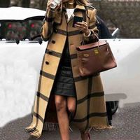 Fall Winter Thin Plaid Wool Coat Women Overcoat Vintage Woolen Blends Graphics Long Coats Plus Size Office Ladies Outwear 2019