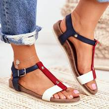 2021 Summer Women Sandals Women Casual Shoes Large Size Mixed Color Flat Sandals Comfortable Buckle Strap Ladies Flats 35-43