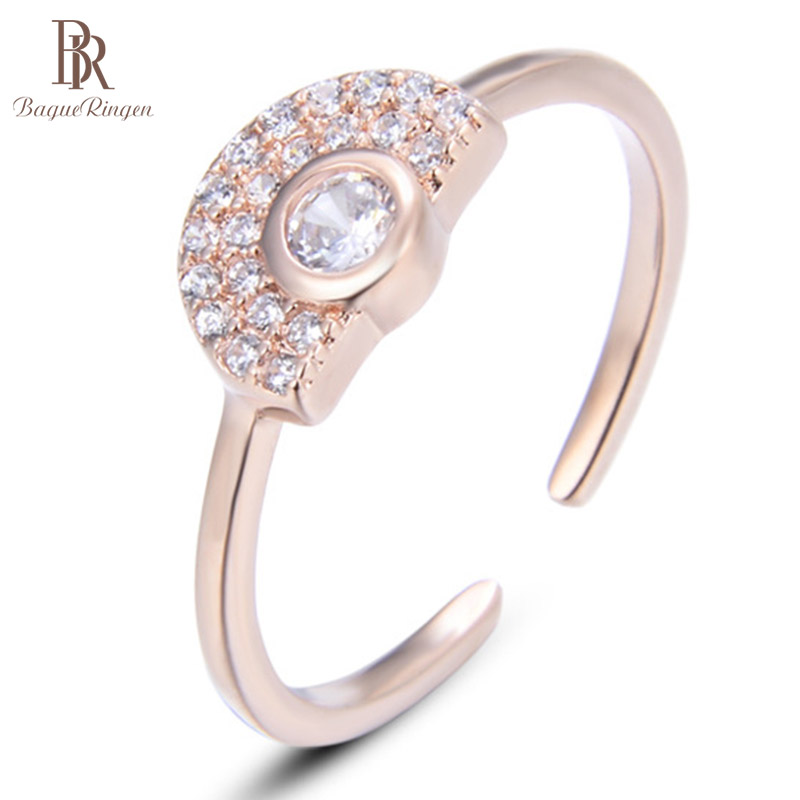 Bague Ringen Korean Fresh Sterling S925 Silver Ring Rose Gold Color With Created Crystal Stone Party Wedding  Jewelry