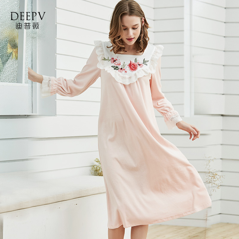 Women'S Sleepwear Autumn Winter Cotton Velvet Cute Princess Embroidered Nightdress In The Long Section Of Home Service D180913