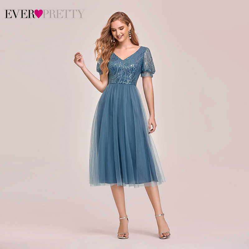 Ever Pretty Short Bridesmaid Dresses A-Line V-Neck Sequined Short Sleeve Knee-Length Tulle Wedding Party Gowns Vestidos 2020