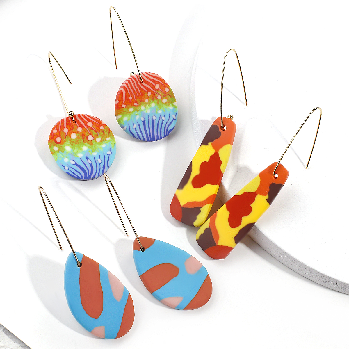 AENSOA 2020 New Unique Multicolor Drop Earrings For Women  Polymer Clay Geometric Statement Earrings Fashion Jewelry Gift Hot