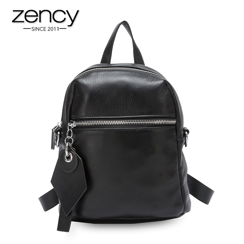 Zency 100% Genuine Leather Fashion Women Backpack Vocation Beach Knapsack Large Capacity Girls Schoolbag Black Small Travel Bags