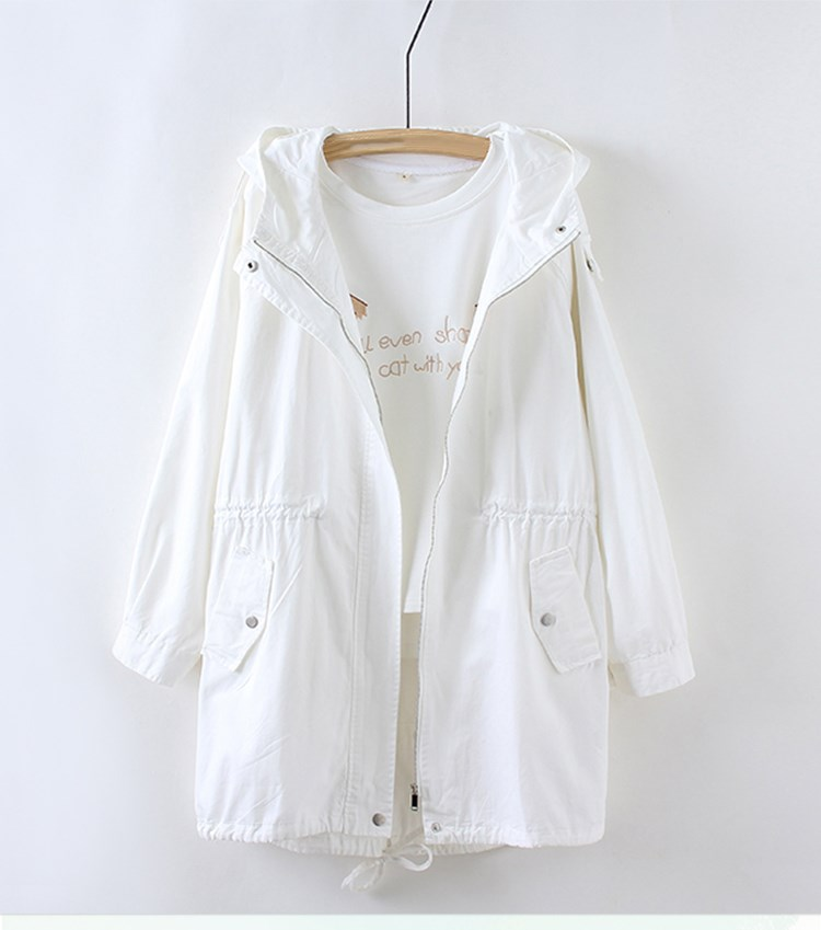 Women White   Basic     Jacket   Casual Solid Coat Female Fashion Loose Long Coat Outwear Women Chothing