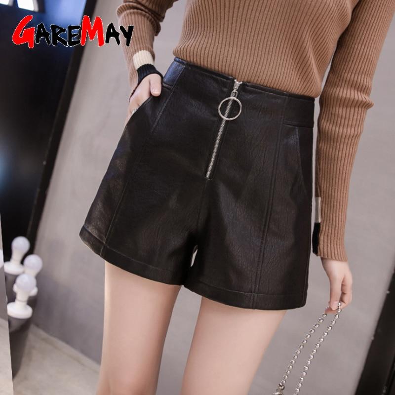 GareMay 2019 Autumn Winter Women's Leather Shorts Women Black High Waist Korean Style Plus Size PU Female Shorts For Women