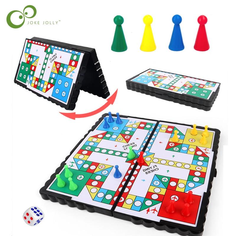 1 conjunto magnético dobrável voando xadrez rastejando esteira ludo portátil jogo de tabuleiro acampamento viagem jogo conjunto avião xadrez zxh