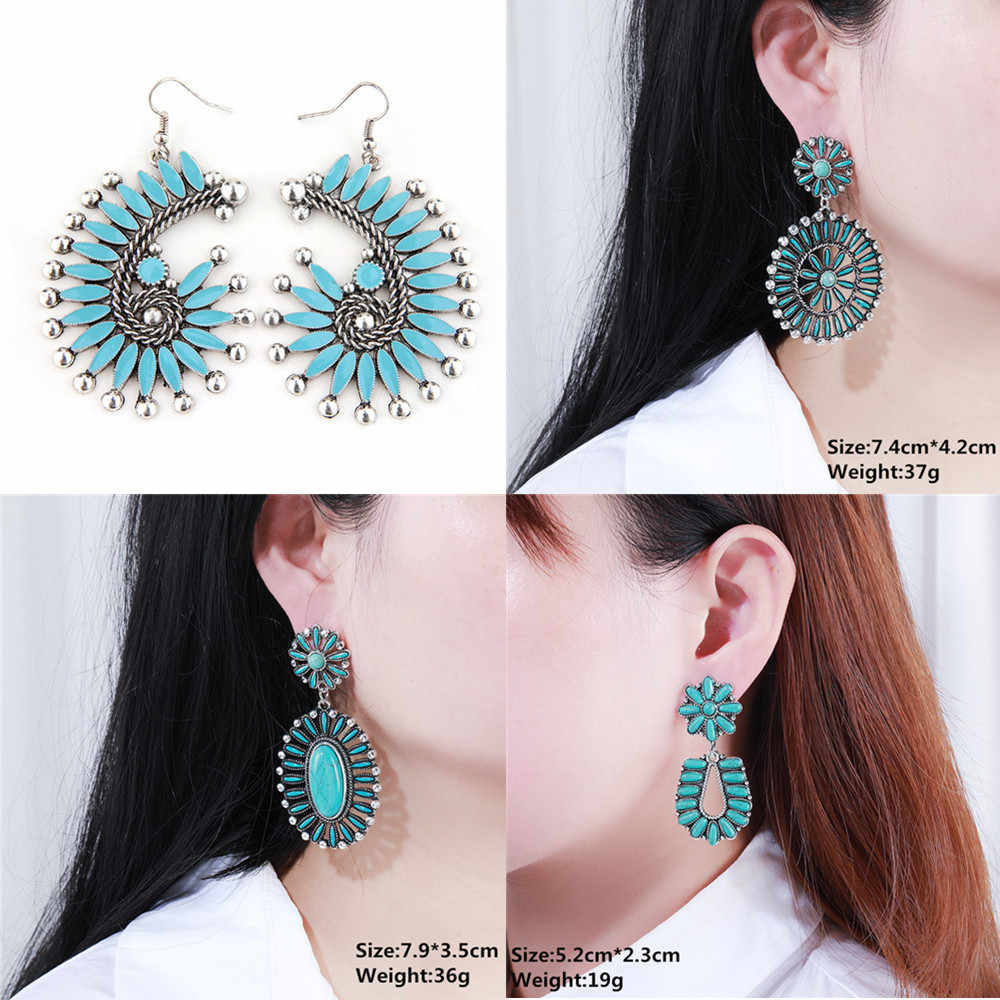 Women Bohemian Earrings Vintage Boho Earrings Statement Tribal Gypsy Spiral Enamel Earrings