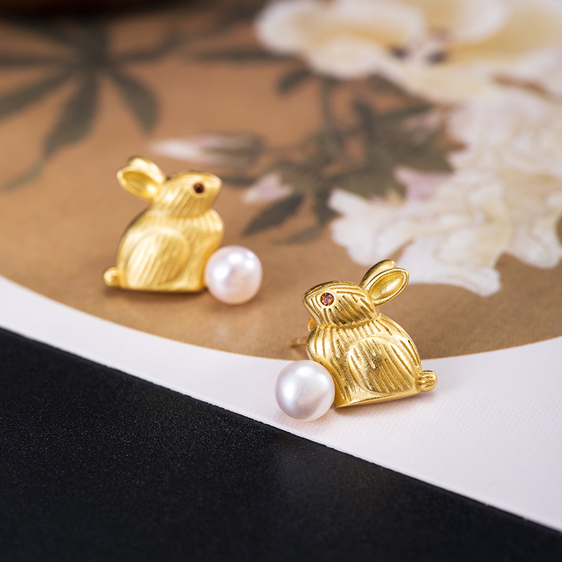VLA Real 925 Silver Cute Creative Pearl Rabbit Earrings Women's Chinese Retro Animal Earrings Valentine's Day Gift