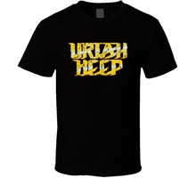 Anime Print Tee Uriah Heep 70s Classic Rock n Roll Vintage Worn Look Music T Shirt Man Round Collar Tees