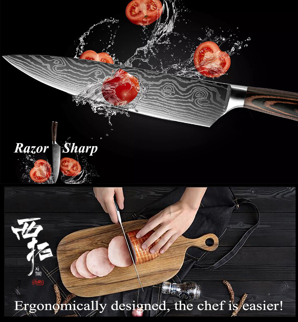 Ultimate SaleXITUO Knife Chef-Knives Slicing Cleaver Stainless-Steel Utility 7CR17 Sharp Santoku 8--Inch