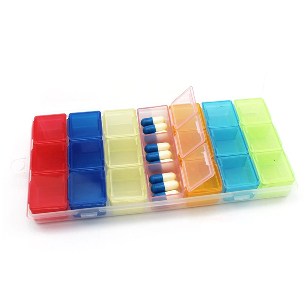 Colorful 21 Grids Weekly 7 DaysTransparent Home Pill Box Travel Jewelry Case Storage Organizer Compartment Container Storage Box