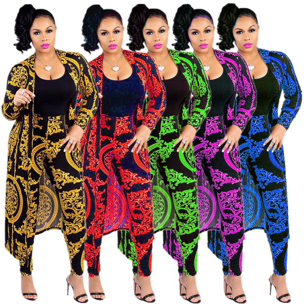 S-3XL 2 Piece Sets New Style African Women Clothing Dashiki Fashion Print Black And White Classic Cloth Two Piece Coat + Pants