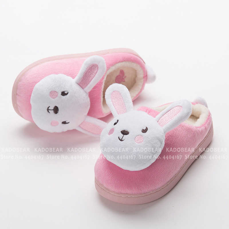 Kids Warm Indoor Fur Lined Slippers Girls Winter Casual Home Cartoon Flat Shoes