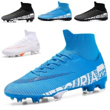 2020 Outdoor Men Boys Soccer Shoes TF/FG Football Boots High Ankle Kids Cleats Training Sport Sneakers Size 35-45 Dropshipping