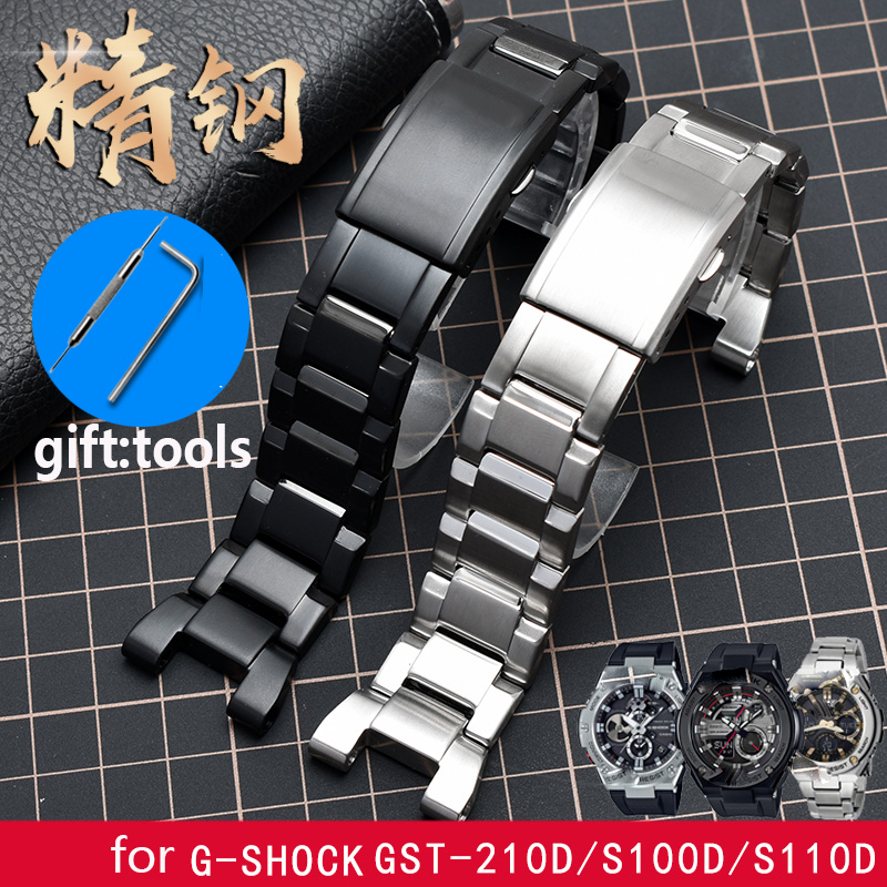 high quality 316L stainless steel watchband For C asio GSHOCK notched steel belt GST 210D S100D/S110D/W300/W110 accessories|Watchbands| |  - title=