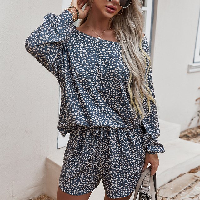 Simplee Casual polk dot print two pieces women set spring Long sleeves top and shorts leisure wear female Fashion basic suit new 3