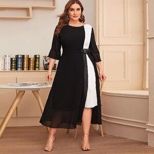 White And Black Contrast Color Elegant Dress Women Summer Three Quarter Sleeve Casual Dress Plus Size Maxi Long Dresses