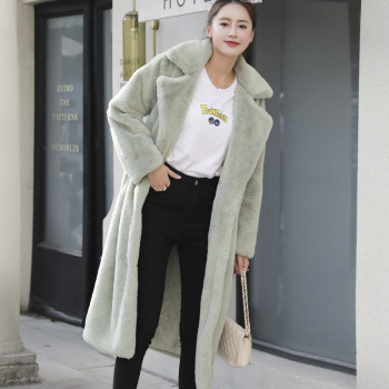 New Women Winter Warm Faux Fur Coat Thick Women Long Coat Turn Down Collar Women Warm Coat With Belt Casaco Feminino 12