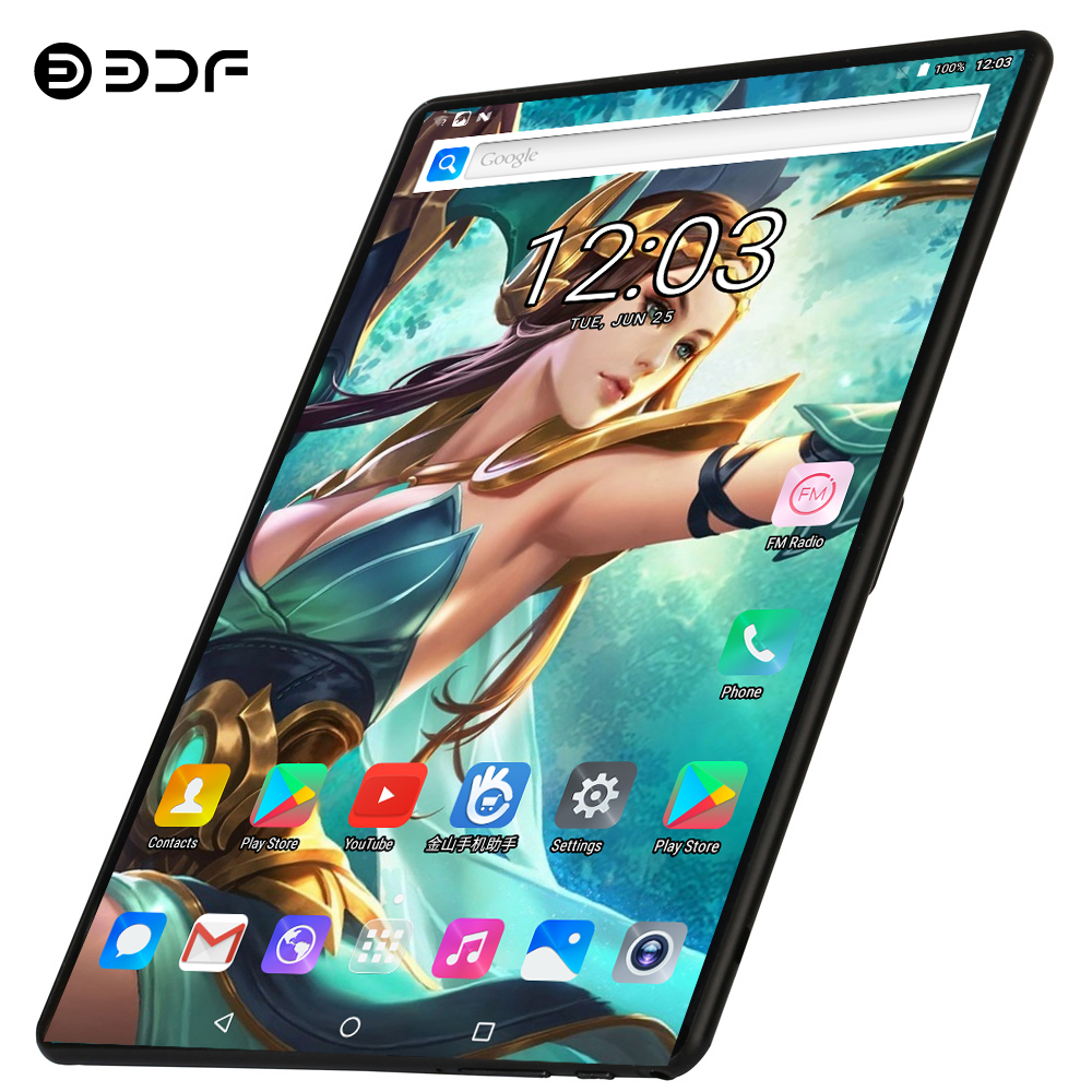 BDF 10 Inch Tablet PC 4G LTE Phone Call 8GB/128GB Dual SIM Dual Camera Android 9.0 Ten Core Card WiFi Bluetoot FM Pc Tablet 10.1