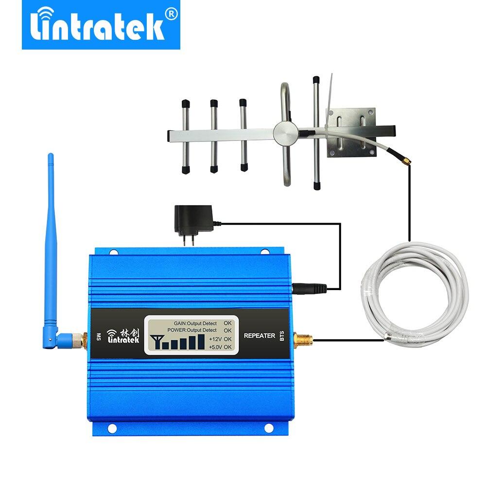 Lintratek pantalla LCD Mini repetidor GSM 900MHz para móvil teléfono GSM 900 amplificador de señal + Antena Yagi con 10m de Cable - 2