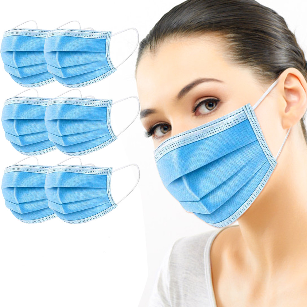 50 Pieces Disposable Face Mouth Masks 3 Layers Non Woven Anti Cracked Breathable Fabric Earrings Masks Direct Delivery