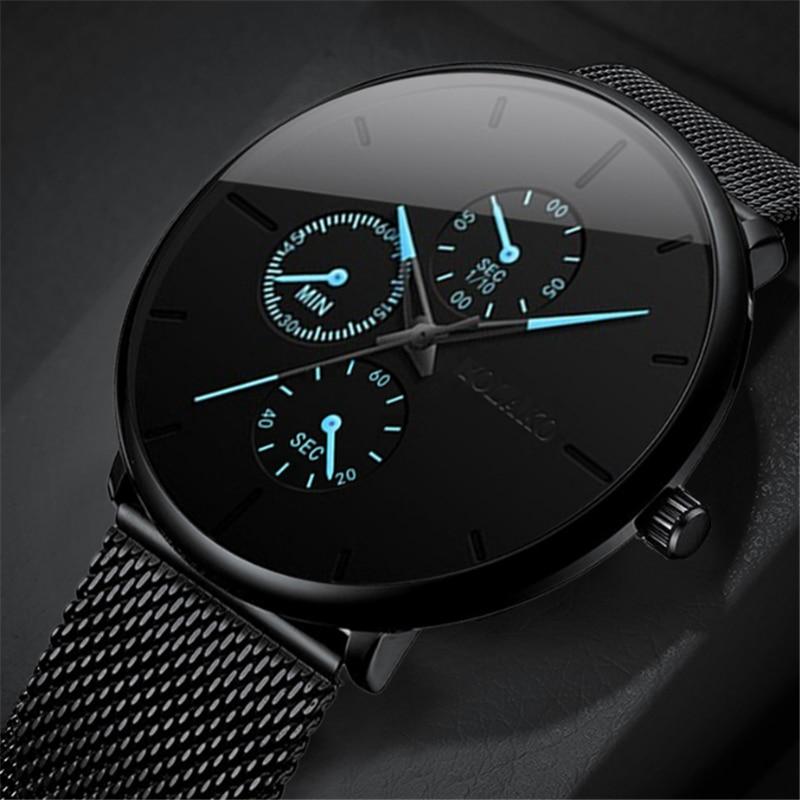 Reloj Para Hombre De Moda 2020 Reloj De Pulsera De Malla De Acero Inoxidable Ultrafino De Lujo Minimalista Relojes De Cuarzo Analogicos Relojes Hombre Relojes De Cuarzo Aliexpress