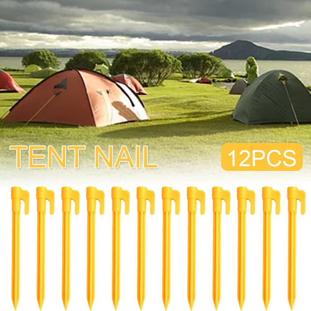 12pcs Tent Nails Beach Mat Nail For Outdoor Camping Windproof Fixed Plastic Nails Pile Anchors Tents Accessories in Tent Accessories from Sports Entertainment