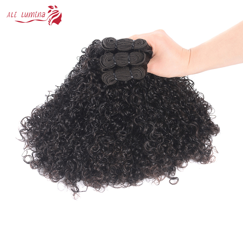 Curly Hair  Bundles 3 Bundles with 4*4 Lace Closure Natural Color  hair 100%  s Double Weft Hair 3