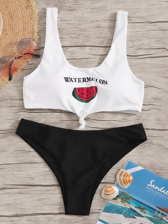 Manufacturers Wholesale 2019 Swimwear Foreign Trade Europe And America New Style Watermelon Bikini Two-piece Swimsuits Women's S