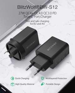 Image 2 - BlitzWolf BW S12 27W QC4+ QC4.0 QC3.0 PD Type C Port EU AU USB Charger for universal Mobile Phone