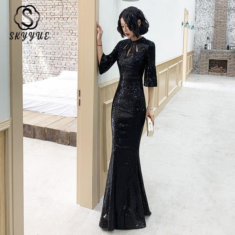 Skyyue O-Neck Mermaid Evening Dress Black Sequined Formal Dress K078 Half Sleeve Long Women Party Dresses Elegant Robe De Soiree