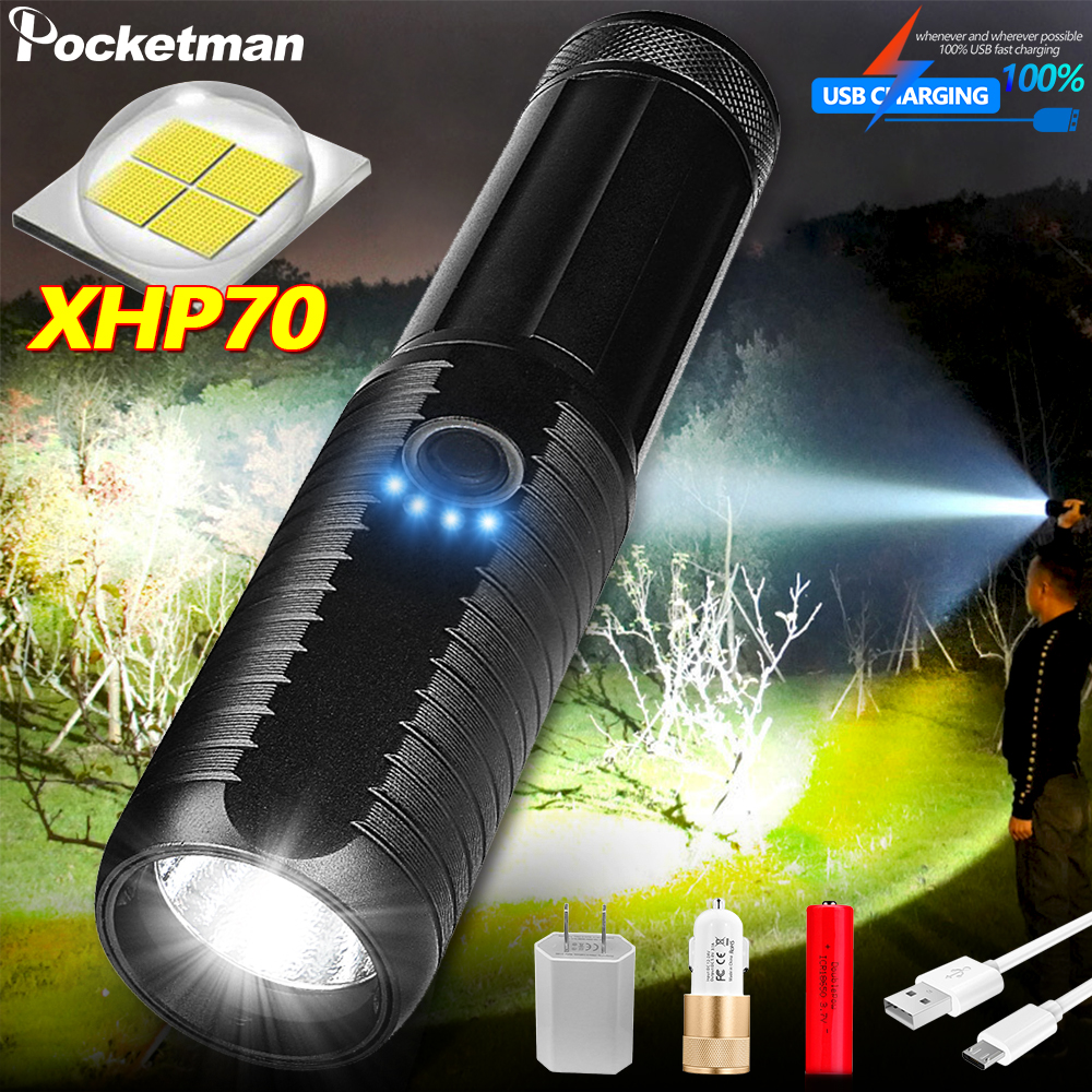Most Brightest 4 Core XHP70 led <font><b>flashlight</b></font> torch usb rechargeable tactical <font><b>flashlights</b></font> <font><b>18650</b></font> or 26650 hand lamp T6 lanterna image