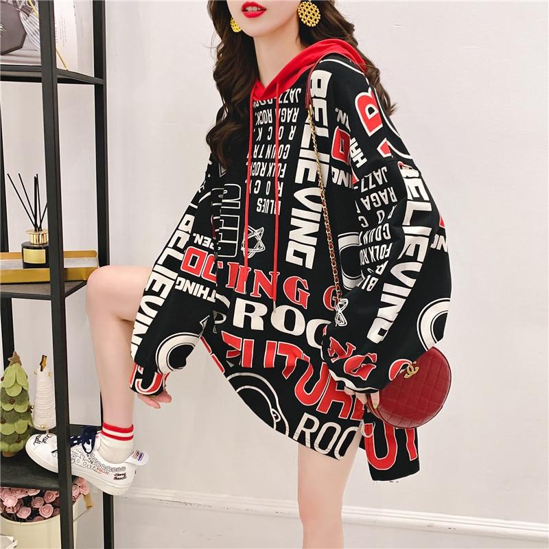 Women Letter Printed Kawaii Funny Korean Tops Female Oversize Fall Ladies Black Streetwear Fashion Long Sleeve Casual Sweatshirt