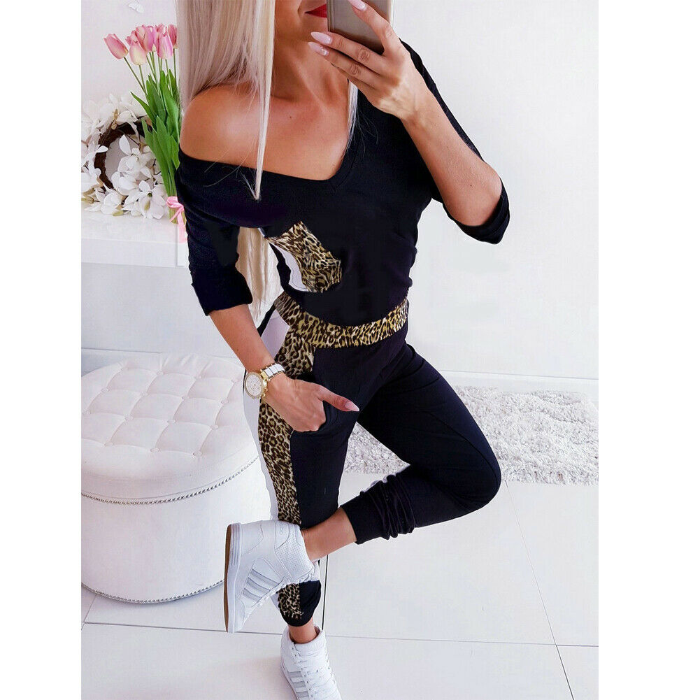 Women's Sexy V Neck Leopard Print Stretch Romper Fashion Ladies Bodycon Slim Autumn Long Jumpsuit Playsuit 2019