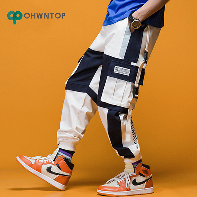 2020 Spring Mens Harem Pants Streetwear Jogger Ribbons Trousers Men Hip Hop Sweatpants Trousers Letter Printed Cargo Harem Pants 4