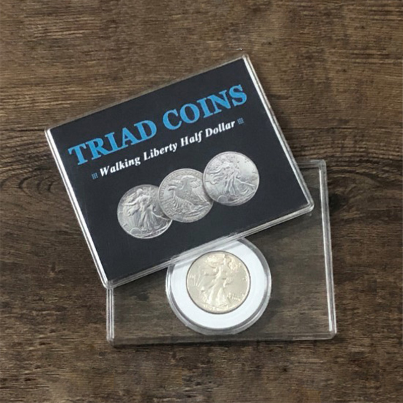 Triad Coins (Walking Liberty Half Dollar Gimmick) Magic Trick Produce Vanish Change Three Coin Magia Close Up Illusion Mentalism
