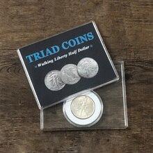 Triad Coins (Walking Liberty Half Dollar Gimmick) Magic Trick Produce Vanish Change Three Coin Magia Close Up Illusion Mentalism