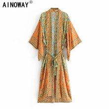 Robe Maxi Boho pour femme, Vintage, chic, à imprimé Floral, Kimono bohémien, col en V, manches chauve souris