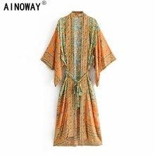 빈티지 칙 여성 옐로우 플로랄 프린트 새시 보헤미안 기모노 숙녀 V 넥 배트윙 슬리브 Boho Maxi dress robe