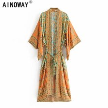 Vintage chic Women  yellow Floral Print Sashes  bohemian Kimono Ladies V Neck batwing Sleeves  Boho Maxi dress robe
