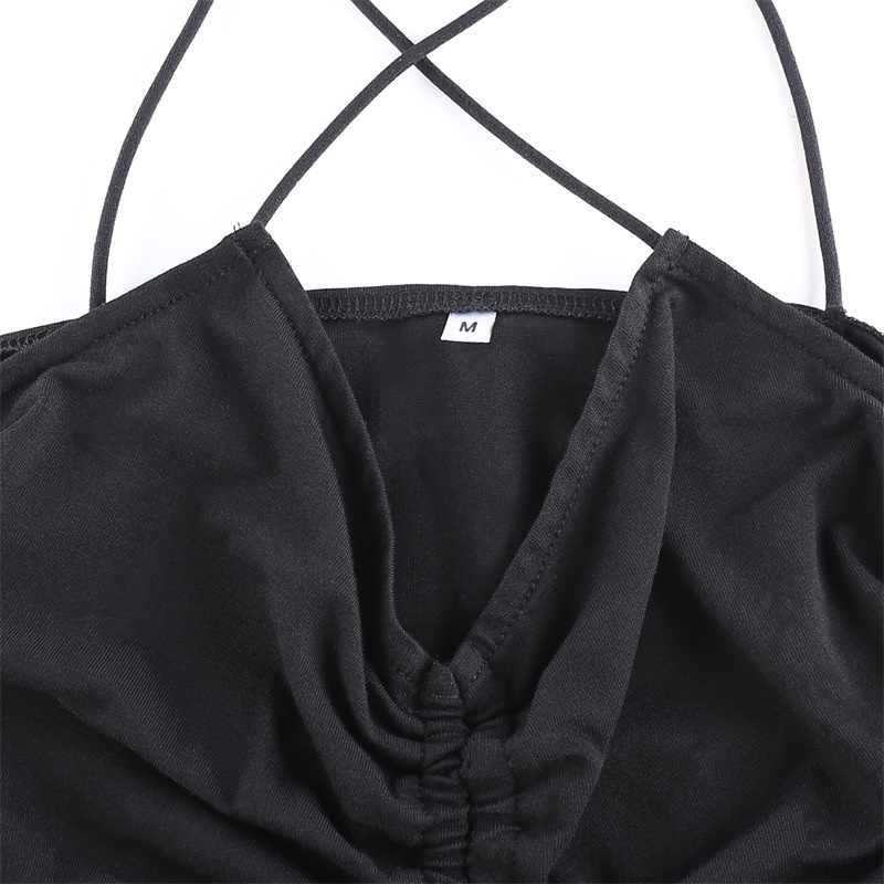 HEYounGIRL çapraz Halter spagetti kayışı üst dantelli V boyun kolsuz Backless seksi mahsul Tops Tees kadınlar siyah rahat yaz 2020