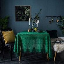 JUSTCHIC темно-зеленая Ретро скатерть круглая прямоугольная журнальный столик покрытие ручной работы Вязание крючком полые съемки фон ткань