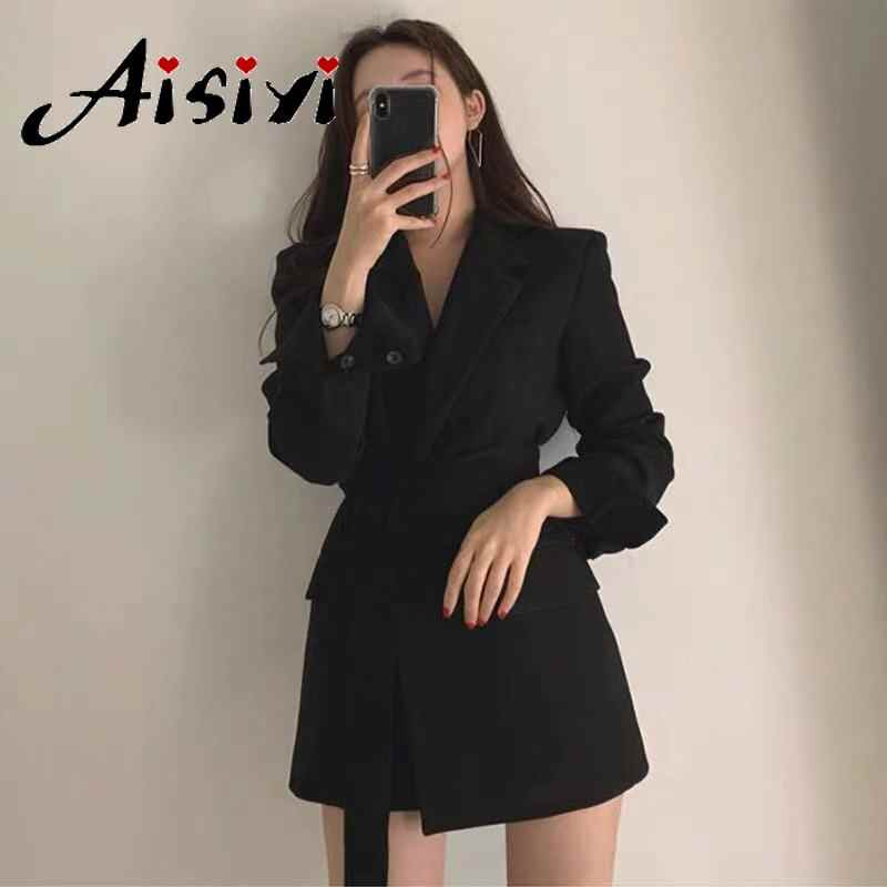 Aisiyi 2019 autunno delle donne blazer e giacche Bianco Giacca Sportiva Delle Donne giacca lunga nero giacca sportiva del capo più il formato Lungo Del Manicotto delle donne vestito