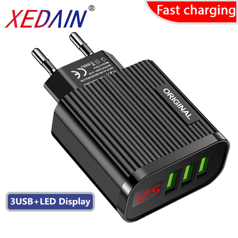 LED Display USB Phone Fast Charging EU/US Plug Travel Wall Quick Charger Adapter 5V/3A For Apple Samsung Huawei Xiaomi iphone 11(China)