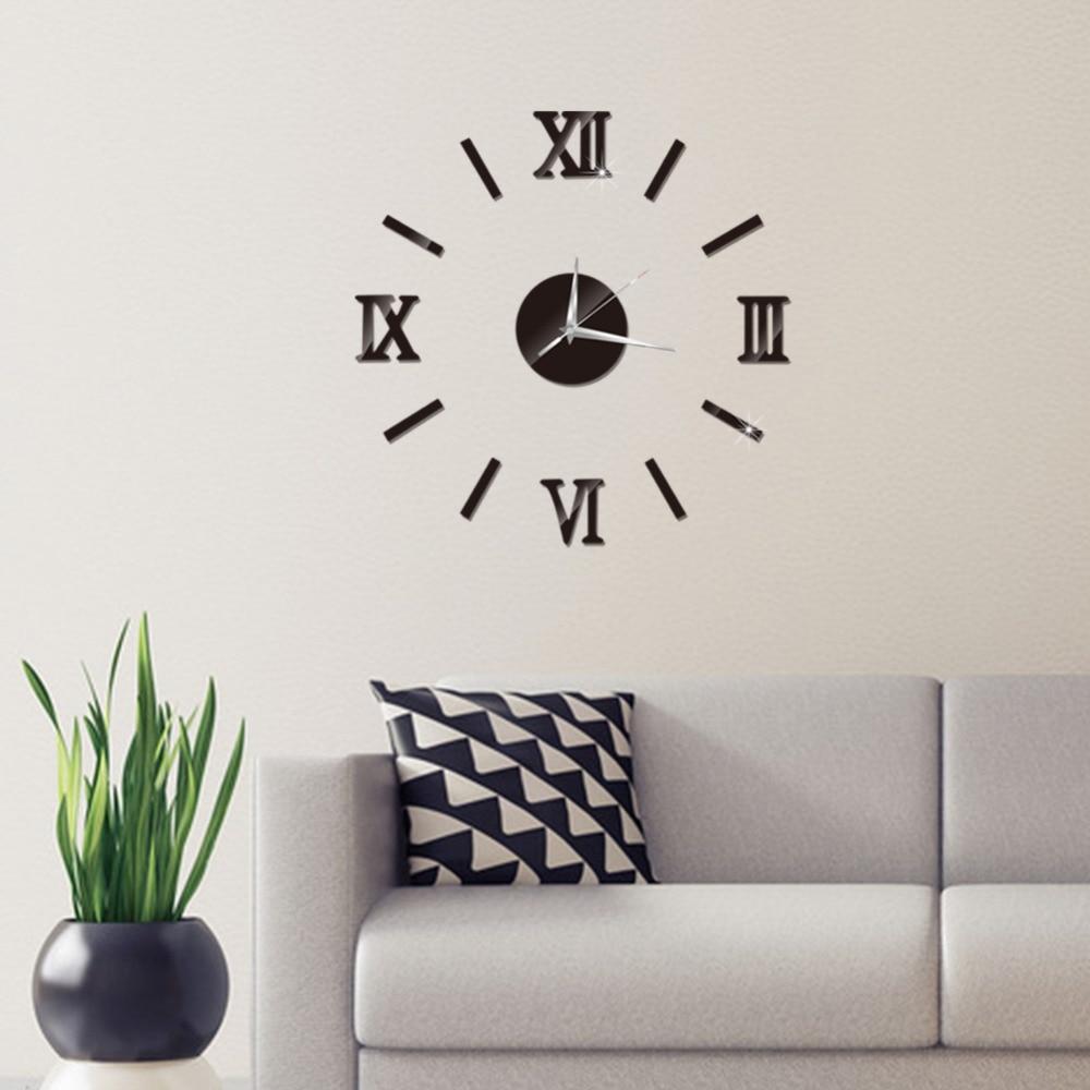 3D Wall Clock Mirror Wall Stickers Fashion Living Room Quartz Watch DIY Home Decoration Clocks Sticker reloj de pared 12