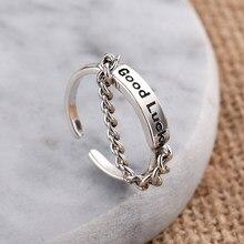 Anenjery irregular do vintage suave bloqueio corrente thai anel de prata 925 prata esterlina tamanho ajustável anel jóias atacado S-R589