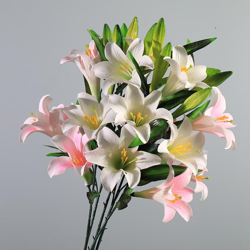Künstliche Lilien Blume Zweig 1Pcs Top Qualität Lilium Simulation Blume Latex Familie Hotel Dekoration Party Zubehör Geschenk