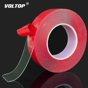 Image 1 - Adesivi per auto Rosso Trasparente In Silicone A Doppia Faccia Nastro Adesivo per Auto Ad Alta Resistenza Nessuna Traccia Adesivo Autoadesivo della parete del Salone Merci