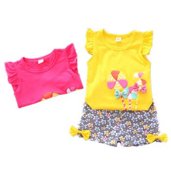 Noworodek dziewczynek odzież ustawia letnia kamizelka bez rękawów zestawy dla dzieci maluch dziewczyny ubrania garnitur stroje w kwiaty tanie promocja tanie i dobre opinie COTTON W wieku 0-6m 7-12m 13-24m 25-36m 4-6y Na co dzień CN (pochodzenie) Lato Z okrągłym kołnierzykiem Pulower Toddler Kids Baby Girls Outfits